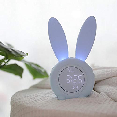 Nachtlampje, kleine wekker, schattige konijnenwekker, creatieve 3D stereosmallal, kleine wekker, led-nachtlampje, elektronische horloge voor dames, heren, tieners, kinderen blauw