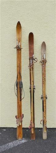 decopoint Original HolzSki mit Stoecken, 120cm-160cm