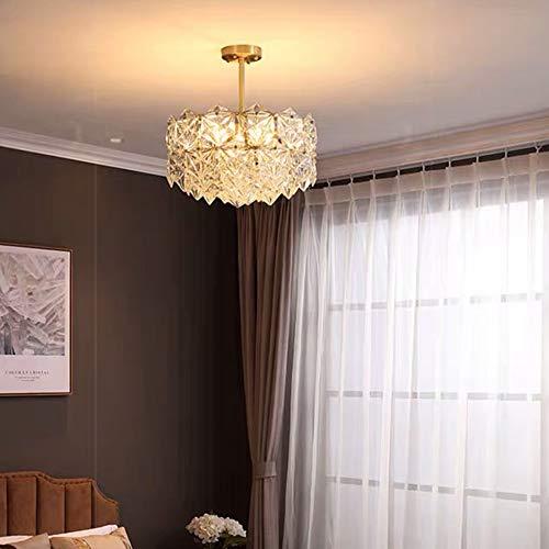 luz de techo LCSD Restaurante Moderno Crystal Light Luxury Copper Living Room Lámpara De Dormitorio Lámpara De Iluminación Nórdica De Alta Gama