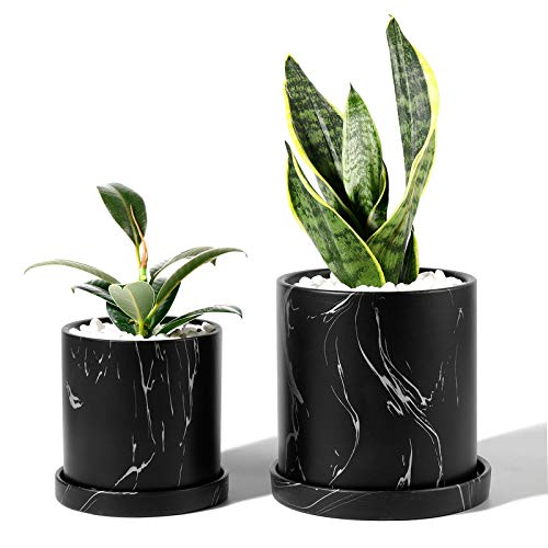 POTEY Ceramic Flower Plants Pots Planter - 3.8 Inch + 5.1 Inch Marble Container Drainage with Sacuer Indoor Herb Garden Bonsai Planting - Set of 2 (Black)