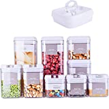 DRAGONN 9 Piece Airtight Food Storage Container Set with Labels, Pantry Organization and Storage, Keeps Food Fresh, Big Sizes Included, Durable, BPA Free Containers (DN-KW-FS09)