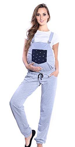Mija - spodnie ciążowe spodnie ogrodniczki spodnie spawalnicze z taśmą na brzuch 4055, Melanż, S