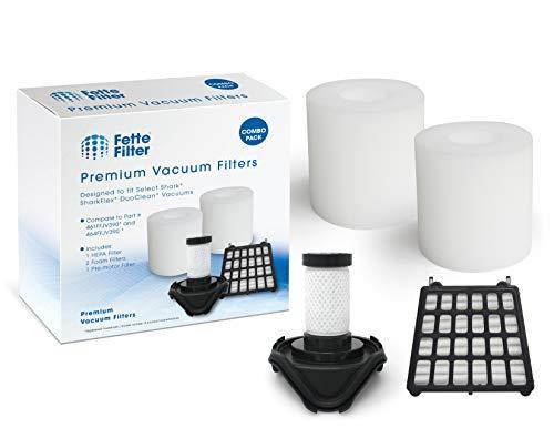 Fette Filter Vacuum Filter Kit Compatible with Shark FLEX DuoClean Corded Ultra-Light For Model #'s HV390, HV391, HV392 Part # 461FFJV390 & 464FFJV390 1 HEPA Filter + 2 Foam Filter+ 1 Pre-Motor Filter