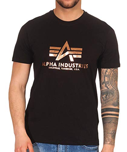 Alpha Industries Herren T-Shirts Basic Black / Gold 2XL