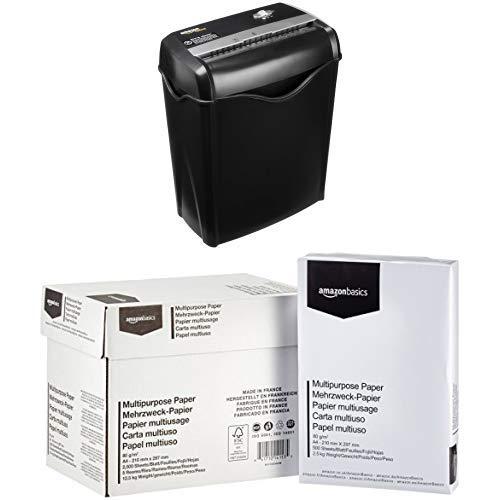 Amazon Basics Aktenvernichter, 5-6 Blatt Kreuzschnitt, für Papier und Plastikkarten mit Amazon Basics Druckerpapier 5x500 Blatt