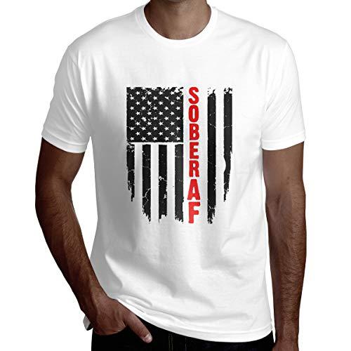 Wbydgoigo Shirt Sober AF Flag Sobriet Mens Fashion Short Sleeve Shirts White