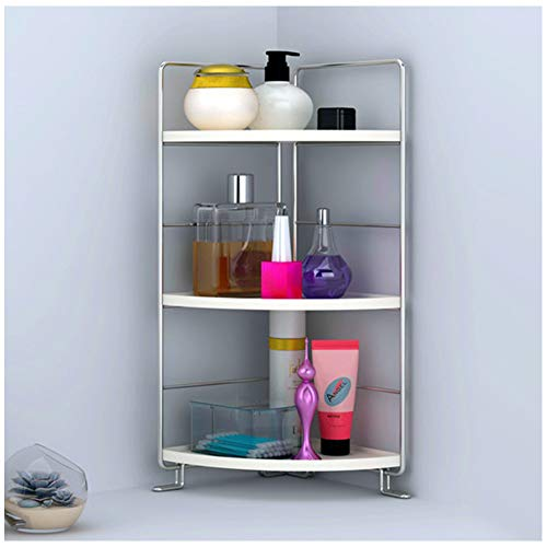 kaileyouxiangongsi 3-Tier Bathroom Countertop Organizer - Vanity Tray Cosmetic & Makeup Storage- Kitchen Spice Rack Standing Shelf - Corner Storage Shelf, Silver
