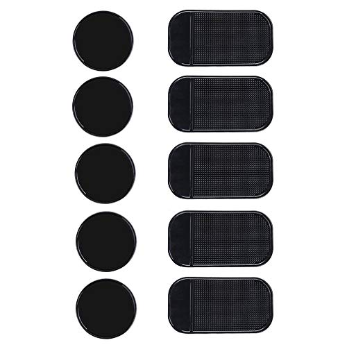viaky 10 Packs Anti-Slip Gel Pads Fixate Sticky Cell Pads Non-Slip Gel Mat Sticky Auto Gel Holder,Can Stick to Cellphone, Pad, Keys,Glass, Mirrors, Whiteboards, Metal (Black) …