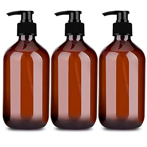 Plastic Pump Bottles 17oz / 500ml Amber Empty BPA-FREE Clear Pump Bottles Refillable Cylinder Lotion Bottle with Pump for Shampoo Hand Sanitizer Liquid Soap Massage Oil (Pack of 3)