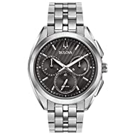 This sporty chronograph watch with a curved sapphire glass is perfect for every gift! -The watch has a function: Stopwatch, luminous hand High quality 23 cm length, 20 mm wide silver stainless steel strap with a deployment clasp Case diameter: 43 mm,...