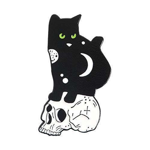 JTXZD broche Gothic zwart en wit Yin Yang knuffelen zeeman maan ster Skeleton schedel emaille broches reversspeldjes voor rugzakken