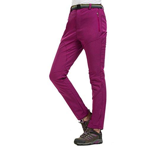 CIKRILAN Femme Coupe-Vent Doublé Polaire Pantalon Softshell Résistant à l'eau Outdoor Sport Pantalon de Camping randonnée (Medium, Rouge foncé)