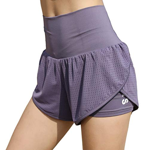 EDENCOMERS Women's Athletic Workout Shorts - Tennis Gym Training & Running Short Light Purple