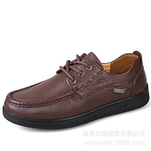 Dingziyue Lederschuhe für Herren, bequeme Schuhe (Farbe: Hellbraun, Größe: 42)