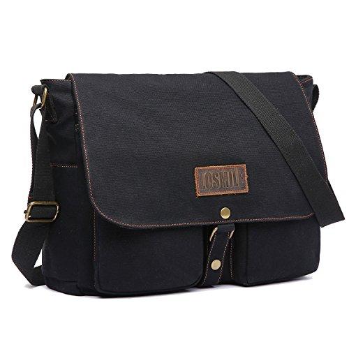 LOSMILE 15.6' Laptop Shoulder Bag, Men's Messenger Bags, Vintage Canvas Bag for School and Work, Satchel Bags, Large Size.(Black)