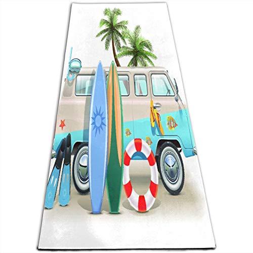 KASABULL Esterilla Yoga Concepto de fin de semana de surf con elementos de buceo, aletas, snorkel y viaje en furgoneta, relajar la paz Colchonetas de ejercicio Pilates para entrenamiento en casa