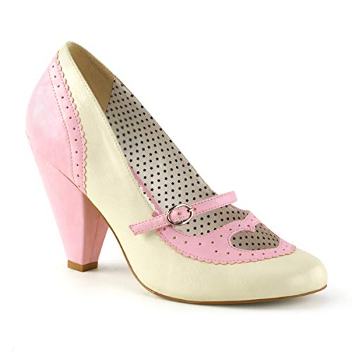 Pin Up Couture POPPY-18 B. Pink-Cream Faux Leather UK 3 (EU 36)