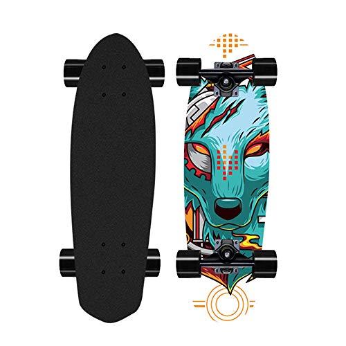 Skateboard Completo para Principiantes, Tabla de Surf Longboard de Arce Profesional de 28 Pulgadas para Adultos, niños, niños y niñas-Color-O