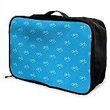 Bolsa de viaje, bolsa de viaje con ruedas para equipaje, maletas livianas portátiles, bolsa de lona, bolso de mano, bicicleta BMX, patrón de repetición azul