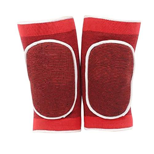 Perfeclan 1 par de rodilleras suaves para voleibol, gruesas esponjas antideslizantes rodilleras transpirables protectores de rodilla para bailarines Yoga fútbol - Rojo