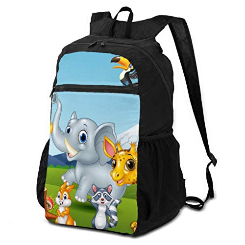 JOCHUAN Hiking Picnic Bag Cartoon Wild Animal in The Jungle Backpack Lightweight Packable Backpack Hiking Daypack Lightweight Waterproof for Men & Womentravel Camping Outdoor