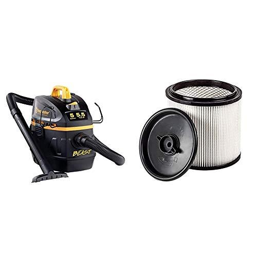 Vacmaster Professional - Professional Wet/Dry Vac, 5 Gallon, Beast Series, 5.5 HP 1-7/8' Hose Jobsite Vac (VFB511B0201), Black & Hepa Material Fine Dust Cartridge Filter & Retainer, VCFH