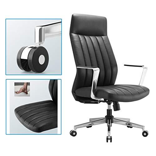 Sillas ergonomica Ordenador Inicio Cuero de Oficina Jefe Asiento Pausa for el Almuerzo reclinable comodo Respaldo (Color : Black, Size : 70 * 70 * 121cm)