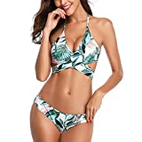 XUNN Bikini para mujer push-up, ajustable, atado al cuello, parte superior de bikini de dos piezas, estampado triangular, cintura baja D-green(2) S