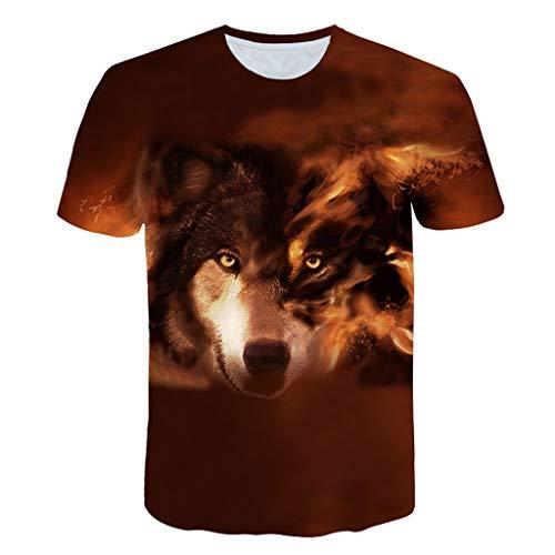 Xmiral Herren T-Shirt 3D Drucken Wolf Kurzärmlig Rundkragen Bluse Tops Große Größe Sommer Polyester Sportshirt Sweatshirt(Kaffee,L)