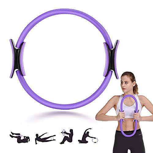 FOOING Cerchia di Pilates, Anello per Pilates Anello per Impugnatura Doppia per Pilates, Cerchio per Esercizi Magici a Doppia Impugnatura, Cerchio per Yoga da Donna (Viola)