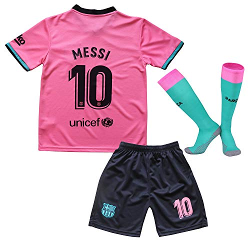 Messi #10 Barcelona Third 2020/2021 Season Kids Youth Sport T-Shirts & Shorts & Socks (9-10Year/Size24) Pink