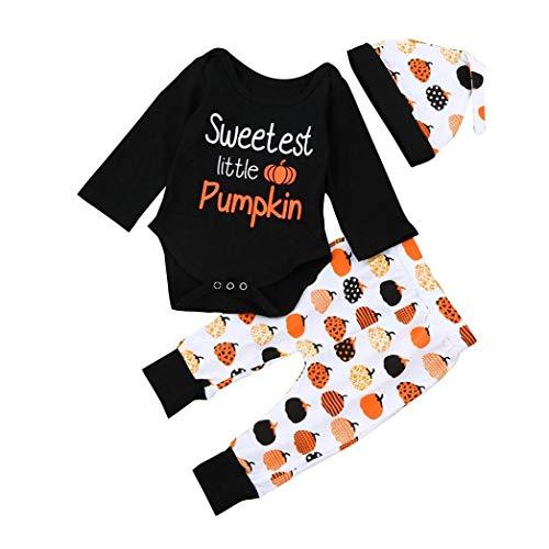 Liumintoy Bambino Neonato Pagliaccetto Halloween Party Costume Zucca Tutine Body Cosplay Vestiti per Bebè con Cappello,80