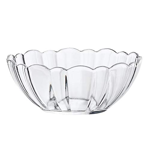 DOITOOL Salad Bowl and Servers Acrylic Round Clear Salad Bowl Food Serving Lotus Bowls for Fruit Vegetable Dessert Snack (17cm)