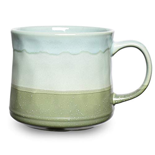 Bosmarlin Large Ceramic Coffee Mug Big Tea Cup for Office and Home 21 Oz Dishwasher and Microwave Safe 1 PCS… Green
