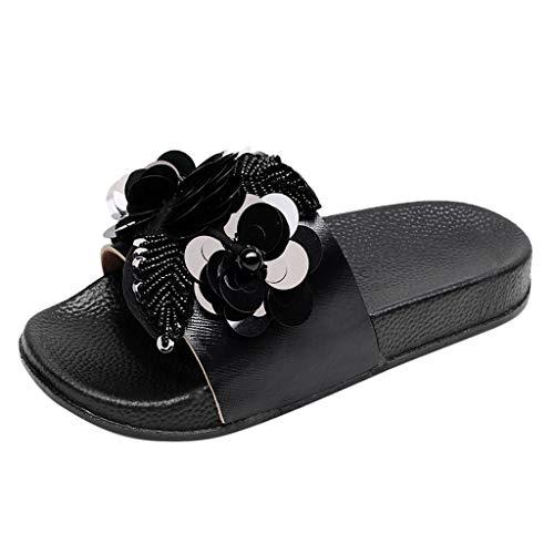 SANFASHION Damen Flache Dias Sandalen Glitzer Sliders Pailletten Blume Hausschuhe Schuhe Dusch- und Badeschuhe