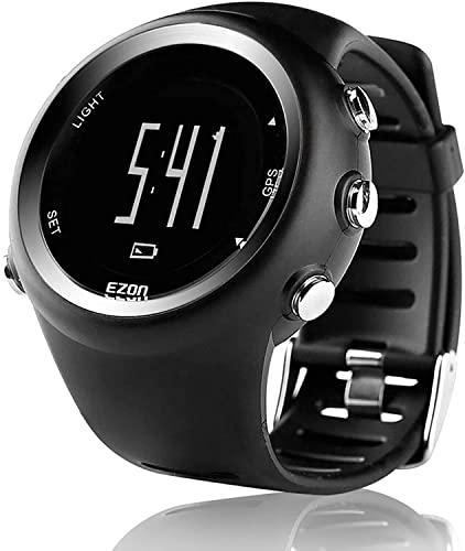 CNZZY Reloj deportivo GPS para hombres y mujeres, reloj digital de ocio al aire libre, con contador de calorías, recordatorio de ritmo, cronómetro, reloj de podómetro de muñeca (C)