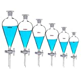 Borosilicate Glass 1000ml Heavy Wall Conical Separatory Funnel with 24/29 Joints and PTFE ...