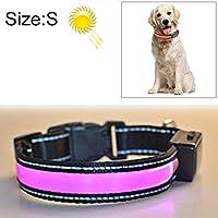 ペットのおもちゃ 大中型と大型犬ペットの太陽+のUSB LEDライトカラーを充電、ネック円周サイズ:S、35〜40センチメートル(オレンジ) (色 : ピンク)