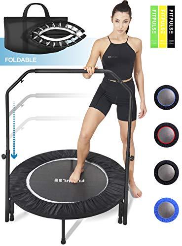 "FITPULSE Mini Trampoline for Adults Rebounder Trampoline with Handle - 40"" Workout Trampoline for Adults Fitness Trampoline Small Trampoline Exercise Trampoline for Adults Indoor Trampoline White Ring"