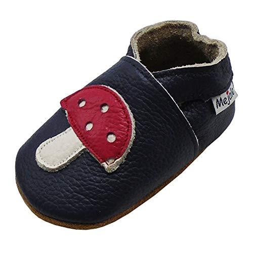 mejale Premium suave piel unidad lernschuhe patucos–Zapatos para bebé tipo mocasín negro schwarz frog Talla:12-18 Monate/5.5 zoll