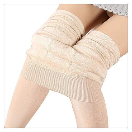 XBECO Las Mujeres Invierno Polar Elástico Sexy Leggings Fleece Forrado Caliente Pantalones Térmicos Delgados Buena Elasticidad (Color : Beige, Size : One Size)