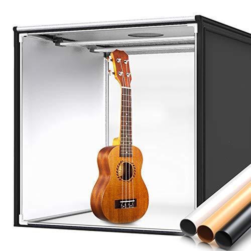 """SAMTIAN Tenda Studio Light Box Kit Luce Regolabile 32""""x32""""x32""""/ 80 * 80 * 80cm Studio Box Fotografico con 2pcs LED Striscia Professionale + 3 carte di sfondo (Bianco/Nero/Arancione)"""