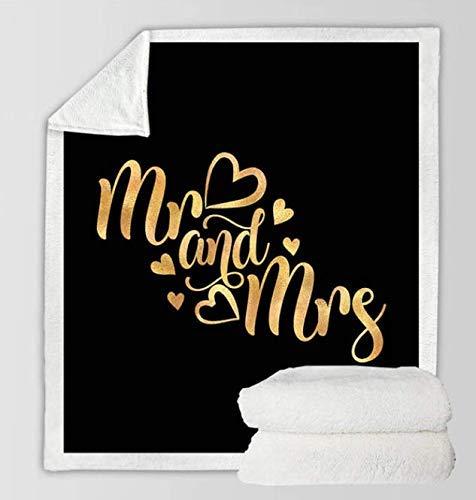 N \\ A Sherpa Decke für Paare Romantische Buchstaben Plüsch Tagesdecke Mr And Mrs Golden Decke Warme Decke