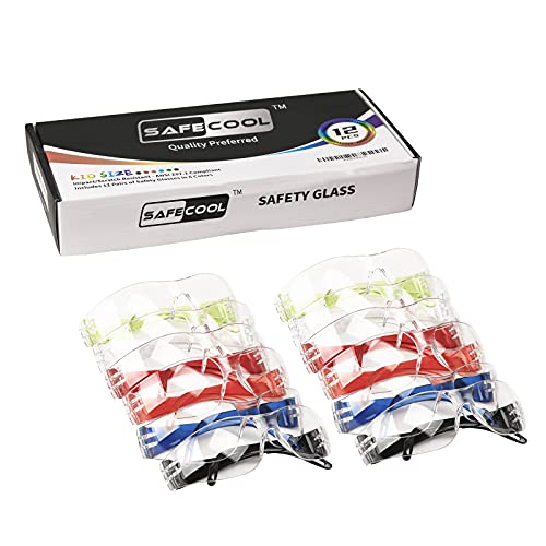 Kids Safety Glasses (12 Pairs in 6 Colors), Protective Polycarbonate Eyewear for children,Individually Packaged, Anti-Scratch Lens for Landscaping, Shooting, Lab,Sports, Child Youth Size
