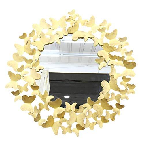 YXB wandspiegel goud vlinder metalen frame ronde muur spiegel voor ingang, slaapkamer, wc, woonkamer en meer J4/21