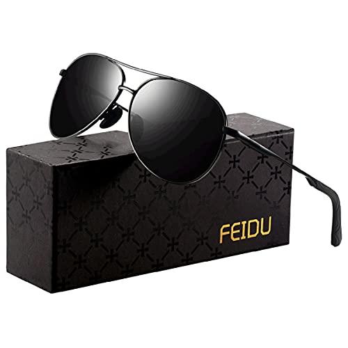 FEIDU Sunglasses man - Pilot sunglasses mens with Ultra-Light Metallic...