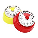 WAYOFEE 2 Pack Kitchen Timer Mechanical Countdown Reminder Magnetic Cooking Timer with Loud Alarm (No Battery Required,Two-Color) (Red and Yellow)