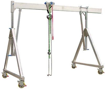 Aluminium-Schnellbau-Portalkran, klappbar und fahr bar, Traglast 1500 kg, lichte Höhe 2260-3110 mm, G