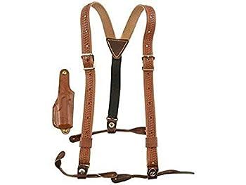 HUNTER 1084 Leather Suspenders W/Derringer Holster Brown