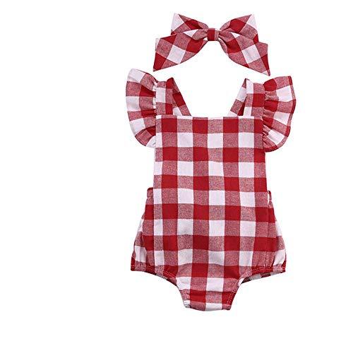 Ropa Bebe Niña Verano Recién Nacido Bebé Mono de Cuadros con Horquilla (C, 0-3 Meses)